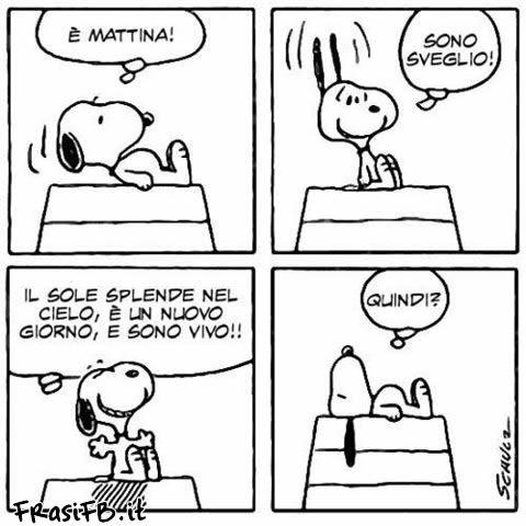Fumetto per facebook di Snoopy che è sveglio