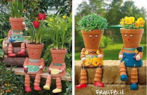 Realizzazione artistica di simpatici pupazzi da vasi di terracotta - Vasi terracotta da giardino ...